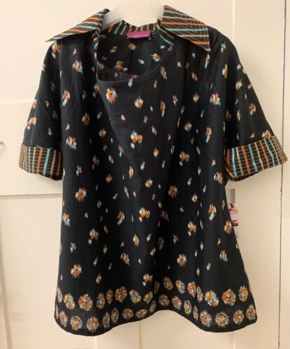 Womens black tribal multi print cotton BLOUSE, Size 10, NEW with Tag
