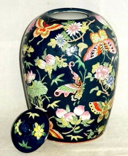 "QIANLONG 19th CENTURY CHINESE PORCELAIN FAMILLE ROSE 13.5"" GINGER JAR BUTTERFLY"