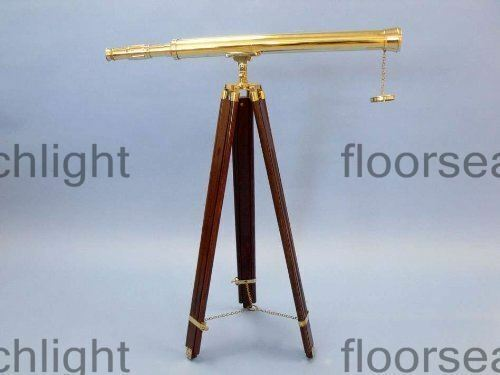 """Nautical Brass Telescope 39"""" Home Decor With Wooden Tripod Stand Golden Finish"""