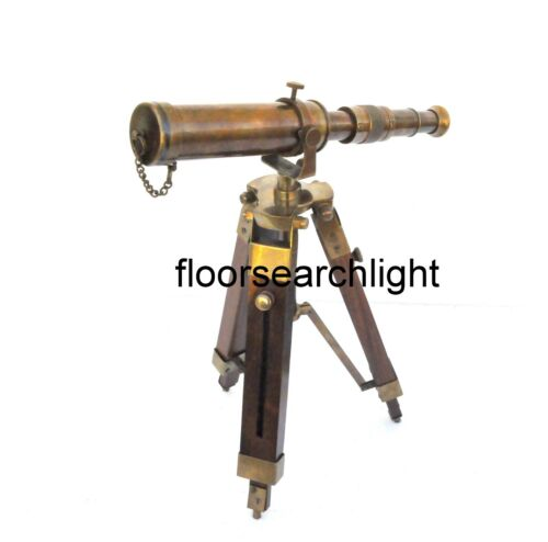Nautical Desk Telescope Handmade With Wooden Tripod Stand Antique Brass Gift