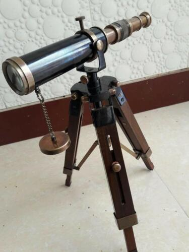 Collectible 10 Inch Brass Telescope With Wooden Tripod Stand Nautical Desk Decor