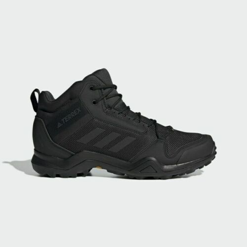 ADIDAS MENS TERREX 3 MID GTX Hiking Shoes Boots Mens Black Lace Up Walking Mount