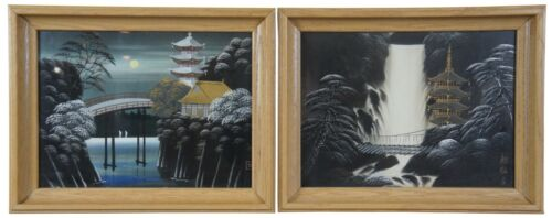 2 Japanese Landscapes Paintings on Silk Signed Pagodas Water Moon Temple 19