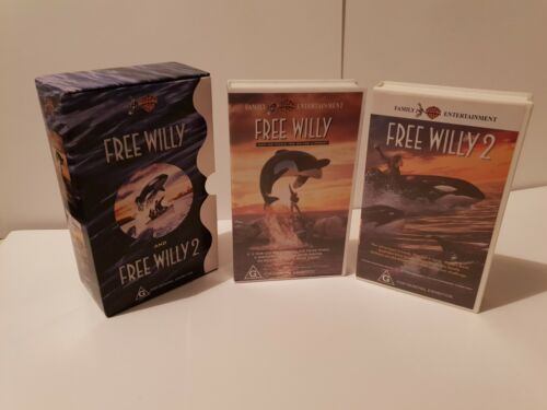 Free Willy 1 - 2 Box Set.. Vhs Warner Home Video Australia..VG