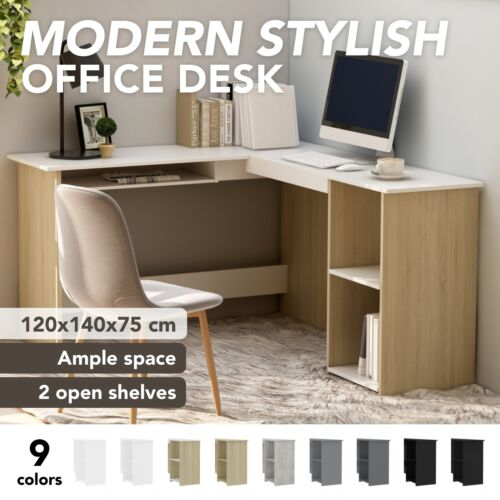 vidaXL L-Shaped Corner Desk 120cm Chipboard Table Workstation Multi Colours