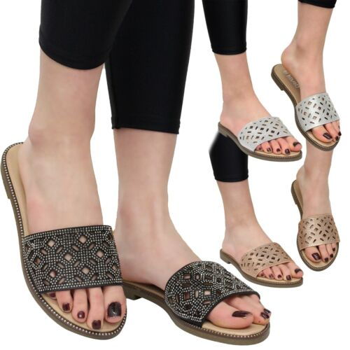 Ladies Summer Sandals Womens Flats Cut Out Diamante Sliders Low Heels Shoes Size