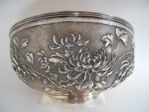 ANTIQUE SILVER 900 CHINESE HAND MADE BOWL CHRYSANTHEMUMS WANG HING  c 1890