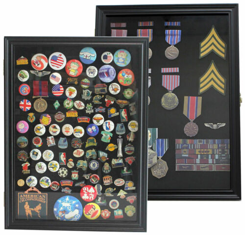 Pin Display Case Shadow Box for Lapel Political Pins Beach Tags, Real Glass