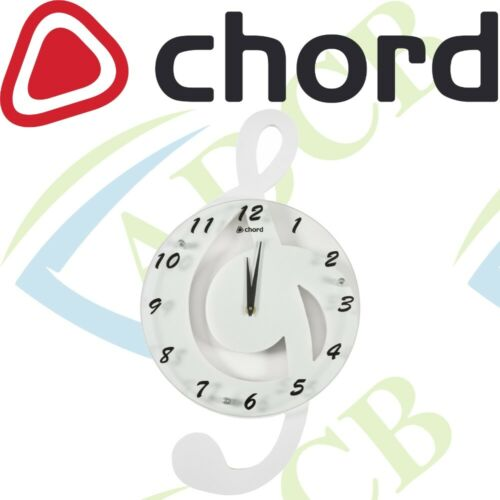 Chord Music Themed Wall Mounted White Clock Treble Clef Musical Design Rock Home