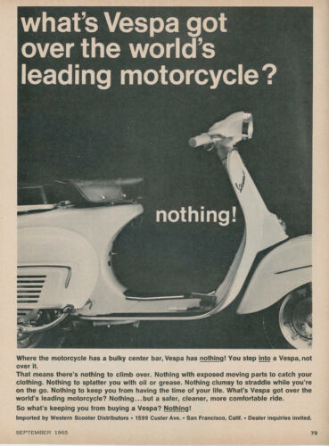 1965 Vespa Motorscooter Vintage Ad Scooter Moped No Bulky Center Bar
