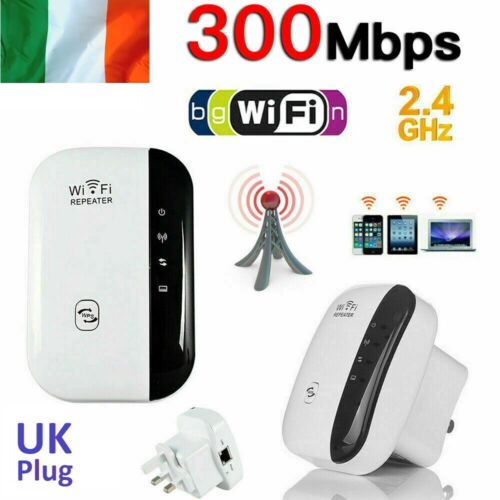 300Mbps WiFi Booster Repeater Signal Range Extender Super Strong 2.4GHz UK Plug