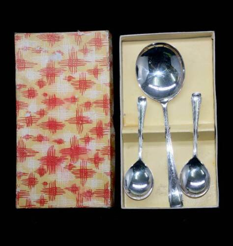 Vintage 1930s EPNS silver plated 5 person dessert spoon set with server
