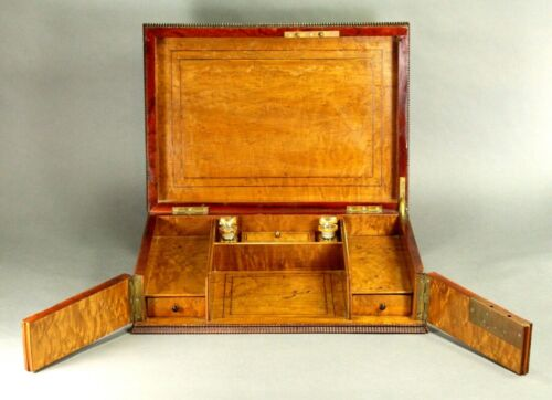 ^ Antique c.1850 FINE Baroque Embossed Leather & Satinwood Writing Chest Box Set
