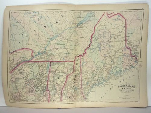 1872 ASHER & ADAMS ATLAS MAP of MAINE + LOWER QUEBEC WITH 4 GAZETTEER PAGES
