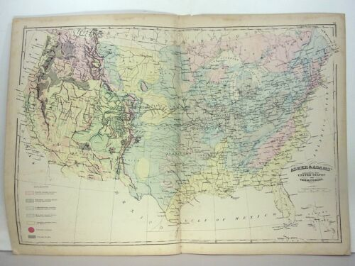 """1872 ASHER & ADAMS ATLAS """"GEOLOGICAL MAP of THE UNITED STATES and TERRITORIES"""""""