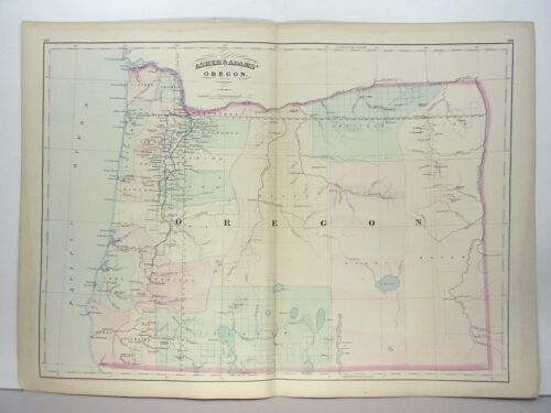1872 ASHER & ADAMS ATLAS MAP of OREGON WITH 2 GAZETTEER PAGES