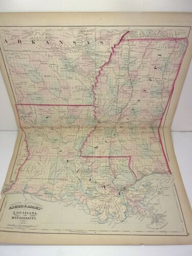 1872 ASHER & ADAMS ATLAS MAP of LOUISIANA & MISSISSIPPI  WITH 8 GAZETTEER PAGES