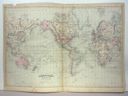 "1872 ASHER & ADAMS ""ATLAS MAP of THE WORLD"""