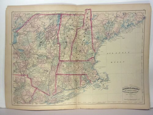 "1872 ASHER & ADAMS ATLAS MAP of ""MASS-RI-VT-NH-CONN"" WITH 21 GAZETTEER PAGES"