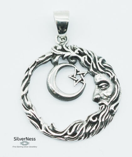SilverNess Jewellery Crescent Moon + Pentagram Pendant: 925 Sterling Silver