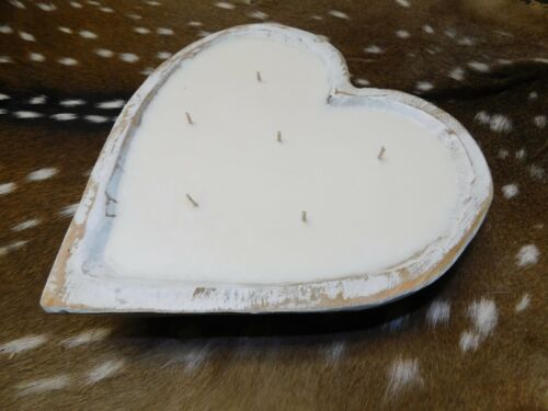 Carved Wooden Heart Dough Bowl Soy Wax Candle Scented APPLE MAPLE BOURBON 3 LB