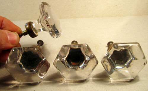 Rare Matching Set Glass 6 Sided Antique Furniture Large Drawer Pulls Brass Base