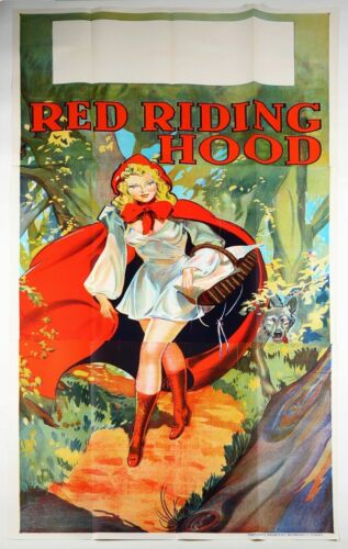 Vintage 3 Sheet 1930s Red Riding Hood Pin-Up Stone Lithography Theater Poster