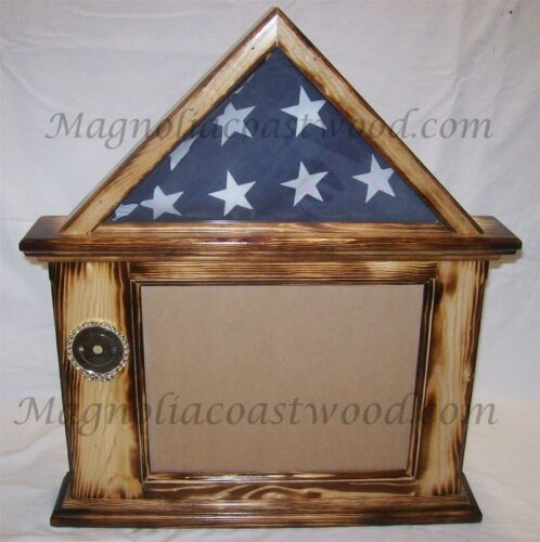Flag & Document Certificate Display Case Box Burnt Pine for 3x5 military Flag Other Militaria - 135
