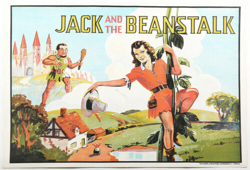 Art Deco 1930s Jack and the Beanstalk Pin-Up Theater Poster Stone Lithography