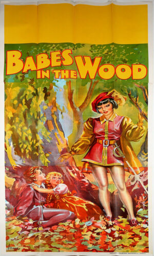 1930s Art Deco 3 Sheet Babes in the Wood Theater Poster Stone Lithography Pin-Up