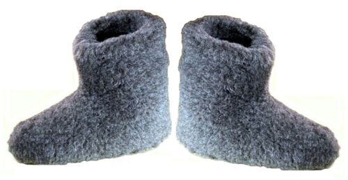 UK 6 - Unisex Slippers Sheep Wool Shoes Boots Black - CHRISTMAS GIFT