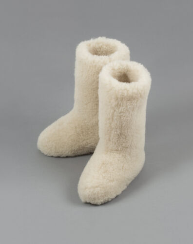 Size 8 (41 EU) WHITE CALF TALL LADIES WOOL BOOTS WARM NATURAL SLIPPERS SHEEP