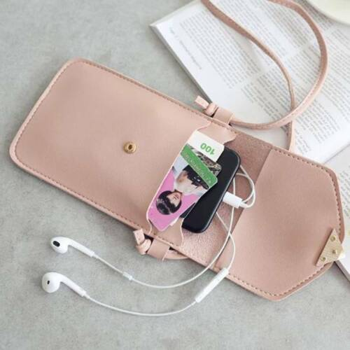 Girl Pu Leather Women Phone Packs Solid Color Waterproof With Shoulder Strap Aa