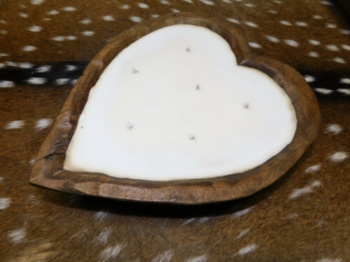 Carved Wooden Heart Dough Bowl Soy Wax Candle Scented AMBER VANILLA Wood 3LB