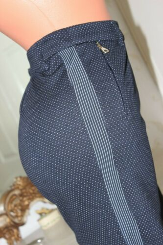 (REF 4) BETTY BARCLAY  Navy Polka Dot Ladies Elasticated Trousers size 16