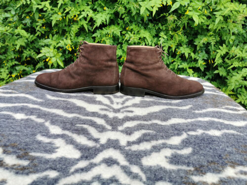 Bruno Magli Brown Suede Leather Ankle Boots UK 8.5 EU 43