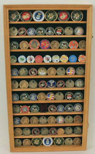 Large 108 Challenge Coin Display Case Cabinet Pin Medal, Real Glass, COIN2-OAOther Militaria - 135