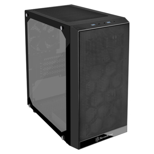 NEW SilverStone PS15 Black mATX Tower Case w/Tempered Glass Side Panel SST-PS15B