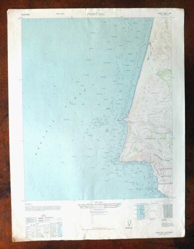 Point Sal California Vintage Military AMS Topo Map 1947 7.5-minute Topographical