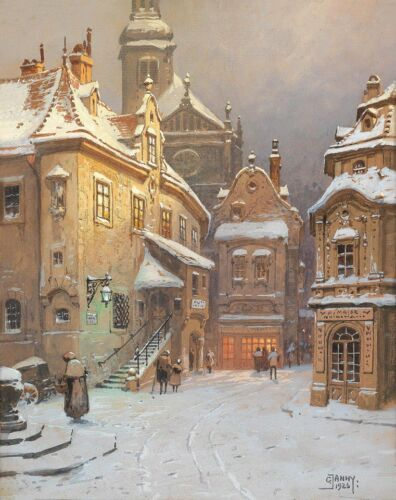 Home Decoration Cotton CANVAS Print Georg Janny Evening in Winter Wall Art 8x10