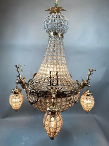 Beautiful chandelier decorated with deer in gold frame -FREE SHIPPING