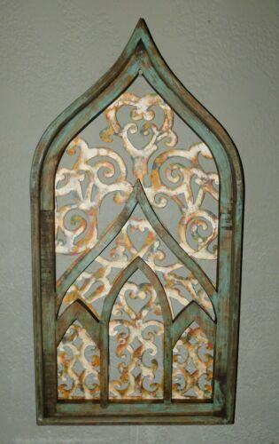 "Wooden Antique Style Church WINDOW Frame Primitive Wood Gothic 32 1/2"" GREEN"