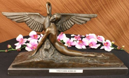 Signed Gennarelli Leda &the Swan Bronze Marble Statue Mythical Greek Decorative