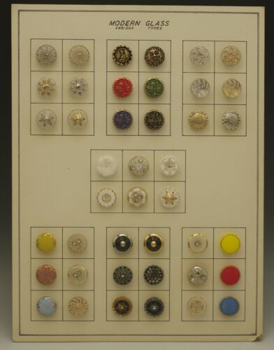 MID CENTURY MODERN ART DECO BUTTONS ON  CARD LOT OF 42 BUTTONS VARIOUS TYPES