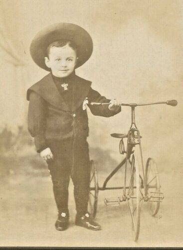 Happy Young Man with His New Tricycle 1902 Cabinet Photo Brooklyn NY