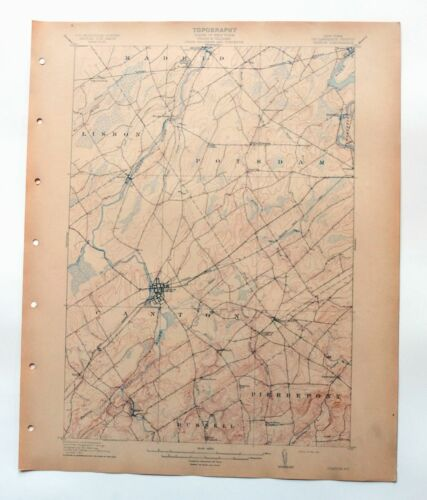 1911 Canton New York Antique USGS Topo Map Potsdam 15-minute Topographical