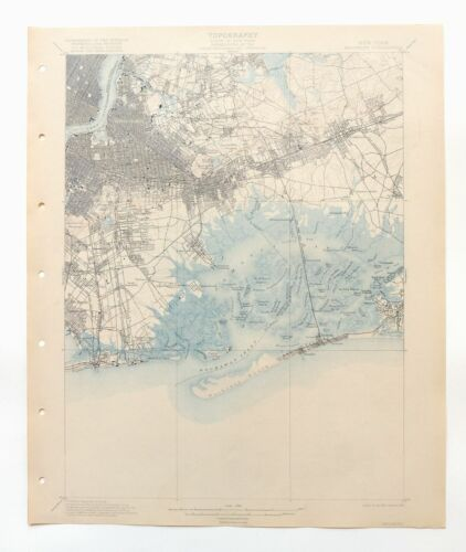 Brooklyn New York Antique USGS Topo Map 1900 New York 15-minute Topographic
