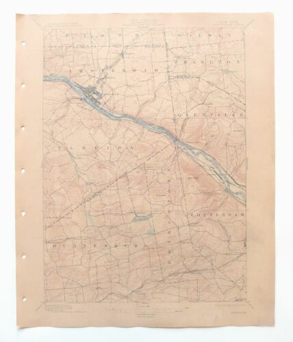 Amsterdam New York Antique USGS Topo Map 1895 Rotterdam 15-minute Topographic
