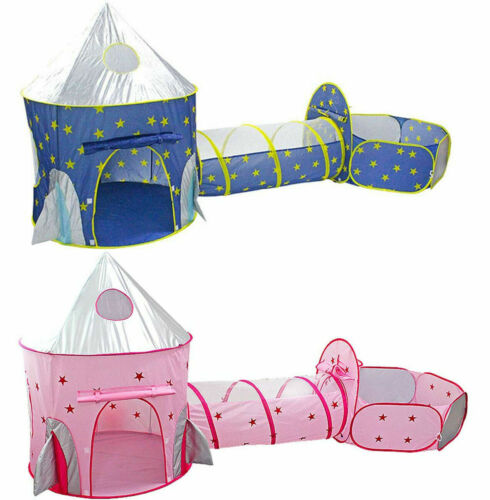 Kids 3 In 1 Sky Style Crawl Tunnel Pop Up Playhouse Ball Pit Folding Play Tent