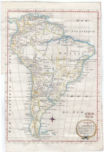 1835 Antique H/C Engravings - MAP OF SOUTH AMERICA - Outline hand color